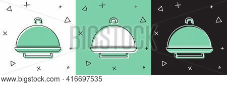 Set Covered With A Tray Of Food Icon Isolated On White And Green, Black Background. Tray And Lid Sig