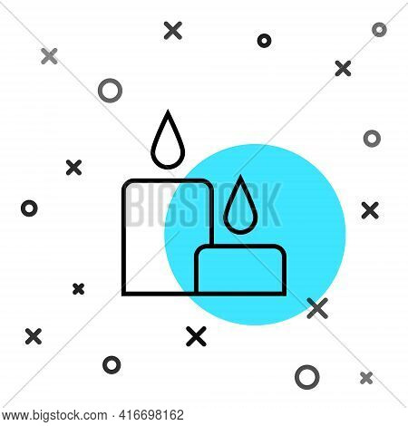 Black Line Burning Candle Icon Isolated On White Background. Cylindrical Candle Stick With Burning F
