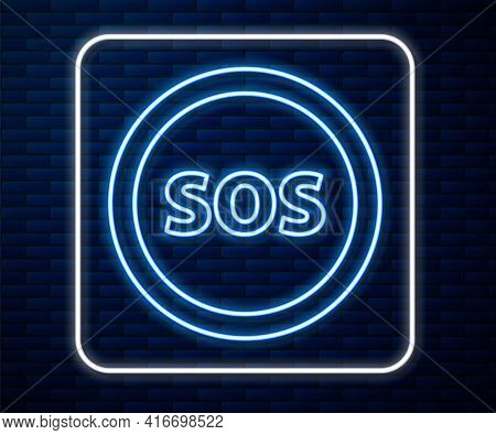 Glowing Neon Line Location With Sos Icon Isolated On Brick Wall Background. Sos Call Marker. Map Poi