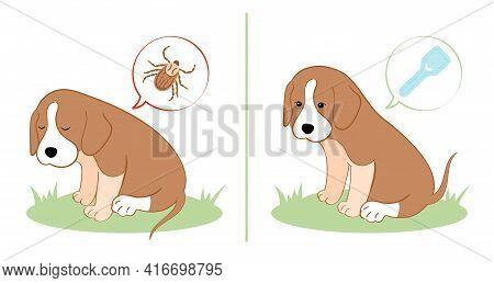 Vector Illustration Puppy Dog Feels Bad From A Tick Bite. Tick Season, Dog Grooming. Dog Feels Good