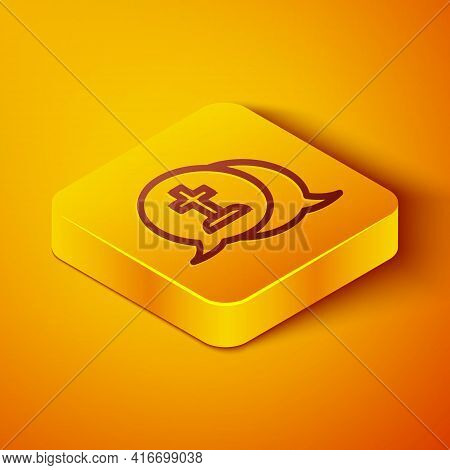 Isometric Line Man Graves Funeral Sorrow Icon Isolated On Orange Background. The Emotion Of Grief, S