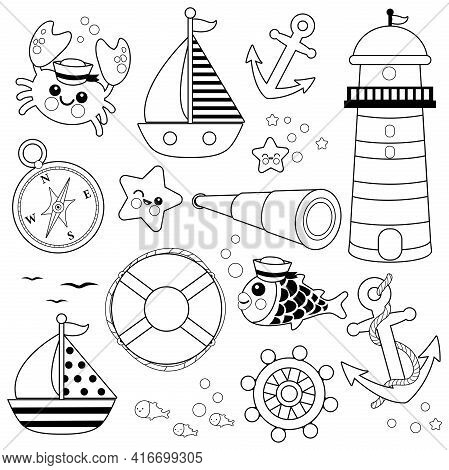Marine Nautical Collection. Vector Black And White Coloring Page