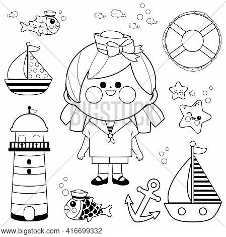 Sailor Girl Nautical Set. Vector Black And White Coloring Page.