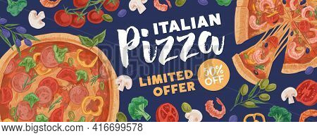 Design Of Horizontal Ad Banner For Pizzeria With Pizzas And Ingredients On Colored Background. Promo