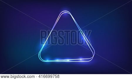 Neon Double Rounded Triangle Frame With Shining Effects On Dark Background. Empty Glowing Techno Bac