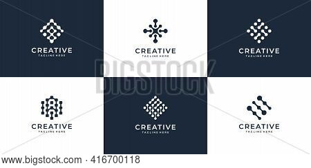 Set Of Creative Internet Connection Modern Geometric Logo Vector Design Concept. Logo Can Be Used Fo
