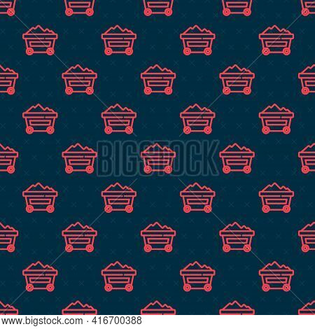 Red Line Coal Mine Trolley Icon Isolated Seamless Pattern On Black Background. Factory Coal Mine Tro