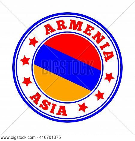 Armenia Sign. Round Country Logo With Flag Of Armenia. Vector Illustration.