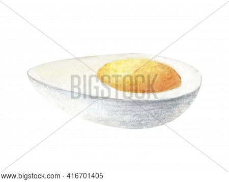 Watercolor Painting Of Boiled Scrambled Egg Illustration Isolated On White Background. Half Of Egg O