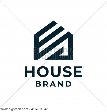 Creative Monogram Line House Real Estate Building Logo Vector Concept. Logo Can Be Used For Icon, Br