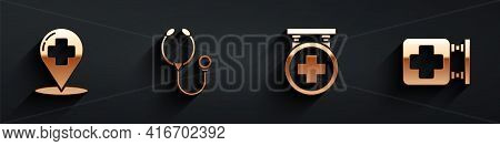 Set Map Pointer With Cross Hospital, Stethoscope, Hospital Signboard And Hospital Signboard Icon Wit
