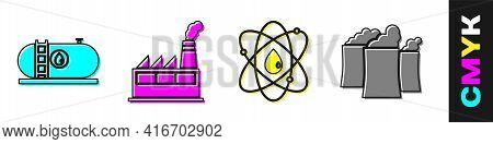 Set Oil Industrial Factory Building, Oil Industrial Factory Building, Atom And Oil Industrial Factor