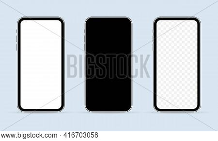 Realistic Smartphone Mockup. Mobile Phone Display, Device Screen Frame And Black Smartphones. Cellph