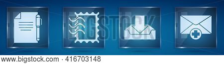 Set Document And Pen, Postal Stamp, Download Inbox And Received Message Concept. Square Glass Panels