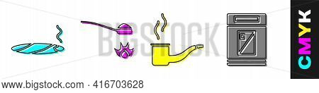 Set Cigar With Smoke, Heroin In A Spoon, Smoking Pipe And Cigarettes Pack Box Icon. Vector