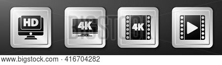 Set Monitor With Hd Video, Screen Tv With 4k, 4k Movie, Tape, Frame And Play Video Icon. Silver Squa