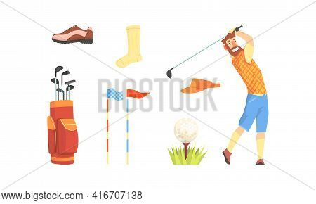 Golfer Player With Sports Equipment Set, Garment Accessories And Tools Cartoon Vector Illustration