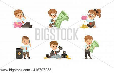 Cute Happy Kids Millionaires Set, Successful Business Children Earning Money, Savings, Finance, Rich