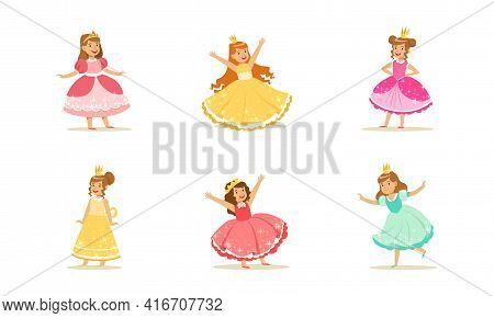 Cute Girls In Princess Dresses Set, Princesses With Crowns In Elegant Colorful Evening Gowns Cartoon