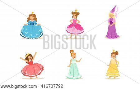 Cute Girls In Princess Dresses Set, Elegant Princesses With Crowns Dressed Fairytale Costumes Cartoo