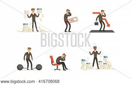 Stressed Businessman Having Financial Problems Set, Business Problems, Unpaid Loan Debt, Bankruptcy