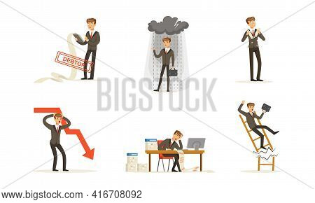 Stressed Businessman Character Set, Financial Problems, Unpaid Loan Debt, Bankruptcy And Crisis Cart