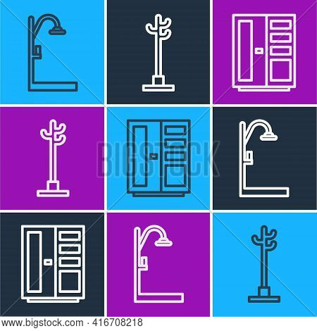 Set Line Shower, Wardrobe And Coat Stand Icon. Vector