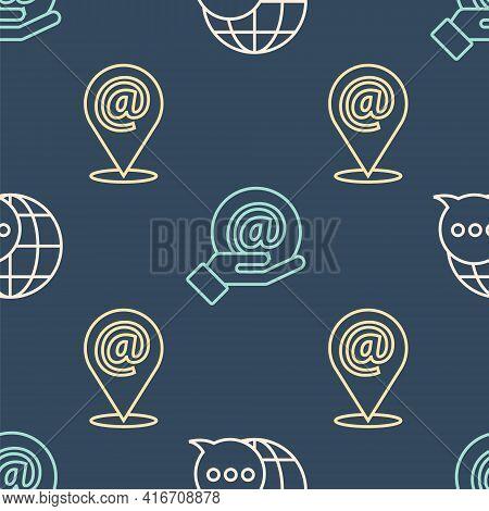 Set Line World Map Made From Speech Bubble, Location And Mail And E-mail And Mail And E-mail In Hand