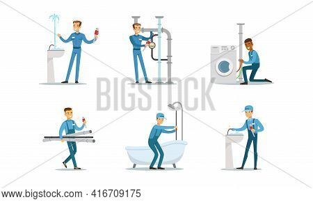 Professional Plumbers, Handymen In Blue Uniform Fixing Sanitary Engineering And Pipes, Repair Servic