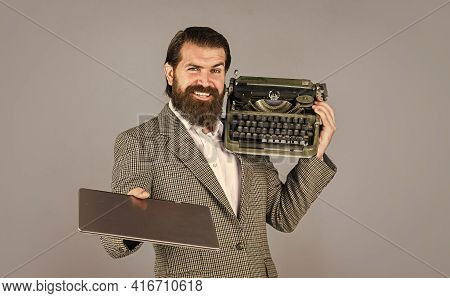 Right Choice. Writer Writes With Typewriter And Laptop. Bearded Man In Jacket With Retro Type Writer