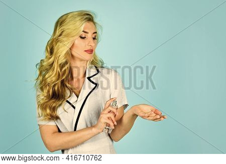 Natural Perfume Oil. Lady Prefer Expensive Fragrance Smell. Sexy Girl Has Curly Hair. Woman Bottle P