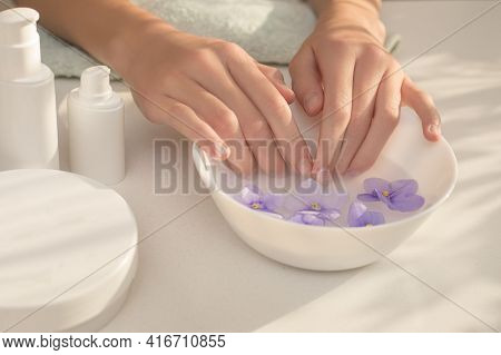 Elegant, Well-groomed Female Hands With Long Fingers. Skin Care Procedure For Hands, Nails, Manicure