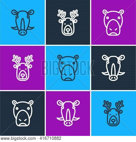 Set Line Wild Boar Head, Hippo Or Hippopotamus And Deer With Antlers Icon. Vector
