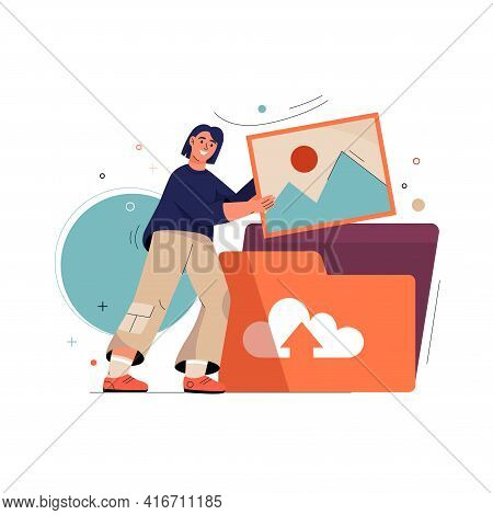 Upload Photo Concept. Woman Uploading Image Or Picture