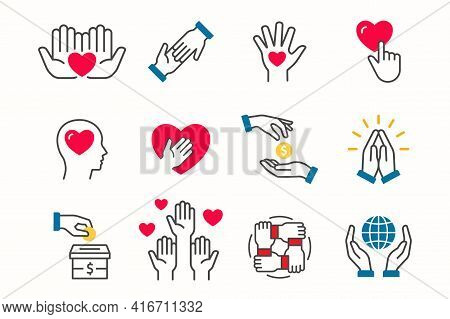 Charity Icon Set. Collection Of Donate, Solidarity, Hope And More. Vector Illustration.