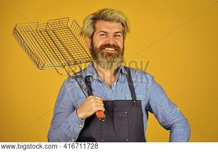 Tools For Roasting Meat. Cooking Utensils. Chef Cooking Bbq Food. Summer Picnic. Hipster Dyed Beard