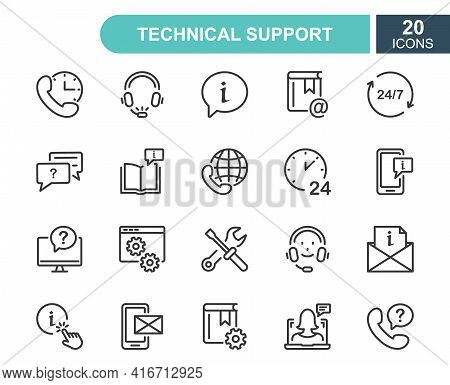 Set Of Help And Support Line Icons. Phone Assistant, Online Help, Video Chat And Faq Line Icons. Int