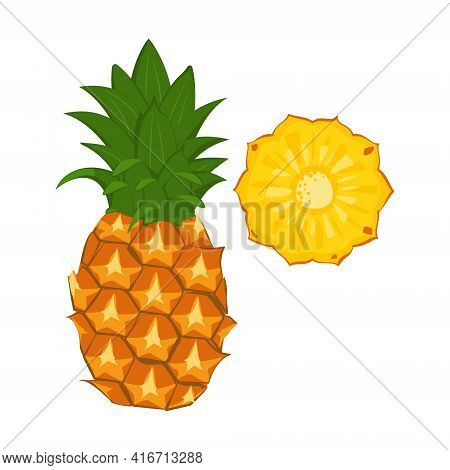 Pineapple Icon. Whole Fruit And Wedges. Sweet Food For A Healthy Diet, Dessert, Snack. Exotic Fruit.