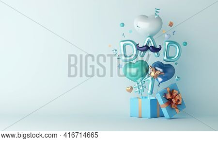 Happy Father's Day Decoration Background With Balloon Gift Box, Copy Space Text, 3d Rendering Illust