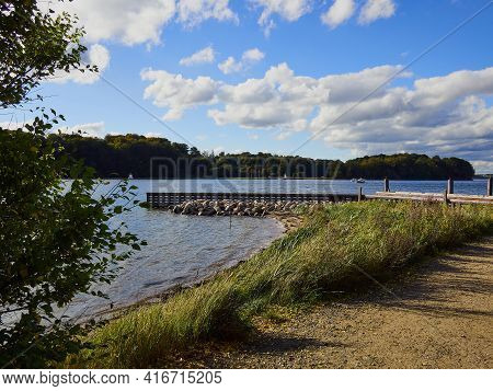 Small Wooden Pier Jetty In Middelfart Fyn Funen Denmark An Attractive Tourist Vacation Landmark