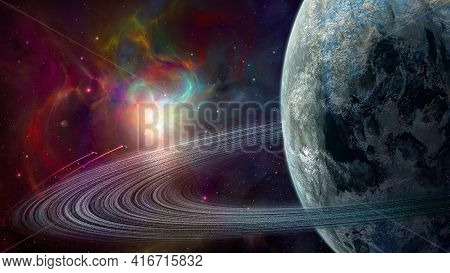 Space Background. Two Spaceship Fly In Colorful Fractal Nebula With Planet And Ring. Elements Furnis