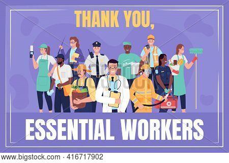 Frontline Essential Workers Social Media Post Mockup