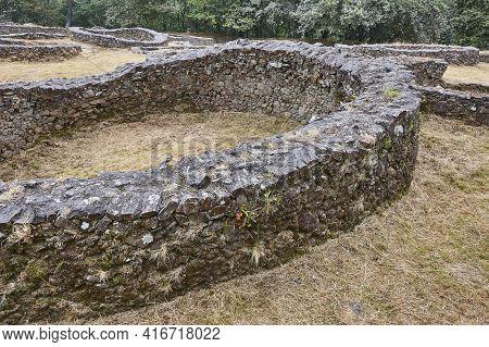 Antique Archaeological Castrum Stone Fort Village Of Borneiro, Coruna. Spain