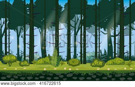 Seamless Forest Landscape Horizontal Background For Games Apps, Design. Nature Woods, Trees, Bushes,