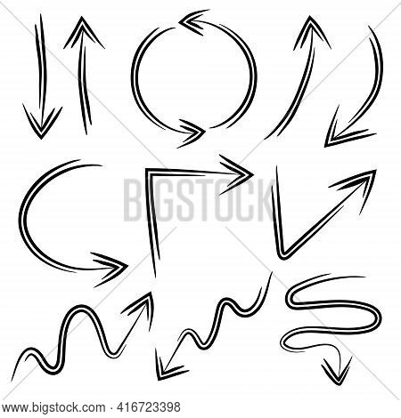 Set Of Doodle Arrows, Inky Black Hand Drawn Arrows Isolated On A White Background