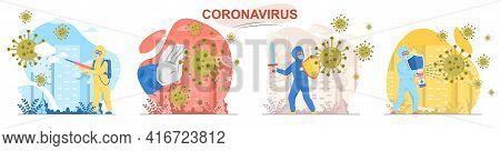Coronavirus Concept Scenes Set. Stop Covid-19. Doctors And Medical Workers Fight Virus Disease, Prot