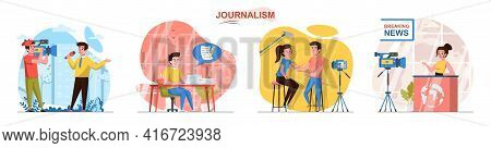 Journalism Concept Scenes Set. Reporter Recording Reportage, Journalist Writing Article, News Anchor
