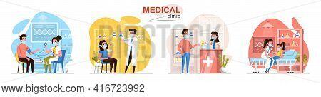 Medical Clinic Concept Scenes Set. Patient Visit Doctor, Diagnostics, Laboratory, Pharmacy, Pediatri