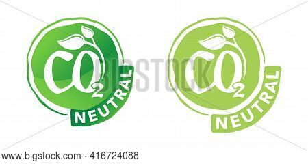 Co2 Neutral Green Abstract Flat Sticker, Net Zero Carbon Dioxyde Footprint - Carbon Emissions Free N