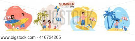 Summer Time Concept Scenes Set. Man And Woman Surfing, Children Swimming In Sea, Travel Vacation At